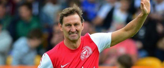 Tony Adams takes part in the charity football match for Arsenal Legends XI in 2013