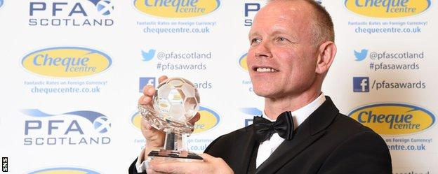 John Hughes with his PFA Scotland award