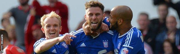 Daryl Murphy (centre) is congratulated by team-mates after scoring