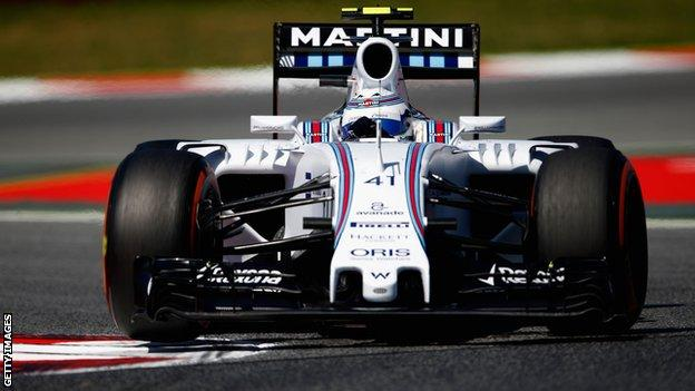 Susie Wolff in action during the practice sessions for Spanish GP
