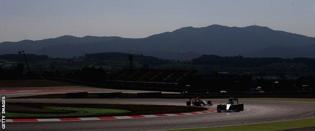 Lewis Hamilton takes to the track in Barcelona
