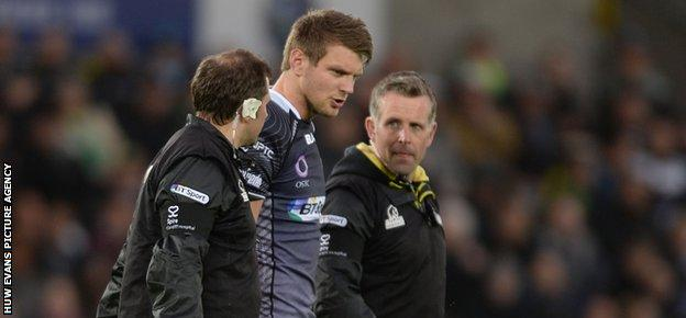 Fly-half Dan Biggar had to go off for an injury assessment but returned to see Ospreys across the finish line