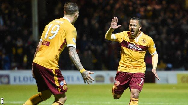 Motherwell's Lionel Ainsworth celebrates having put his side 3-1 ahead