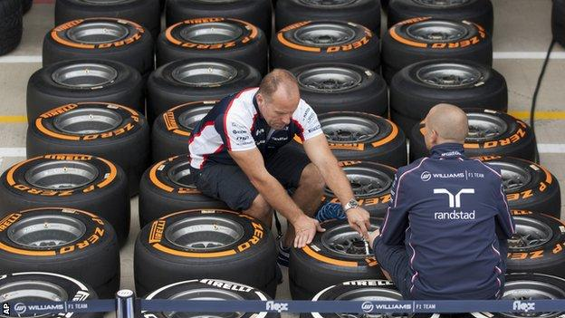 Pirelli tyres are ready to be loaded in to the garages