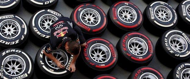 A red Bull engineer tests tyres ahead of the Spanish Grand Prix