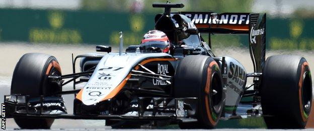 Force India's car in action during Spanish GP practice