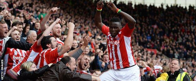 Stoke City forward Mame Biram Diouf celebrates scoring against Tottenham