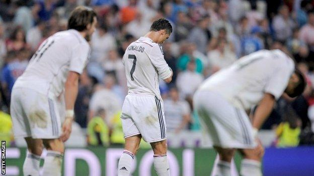 Dejected Real Madrid players