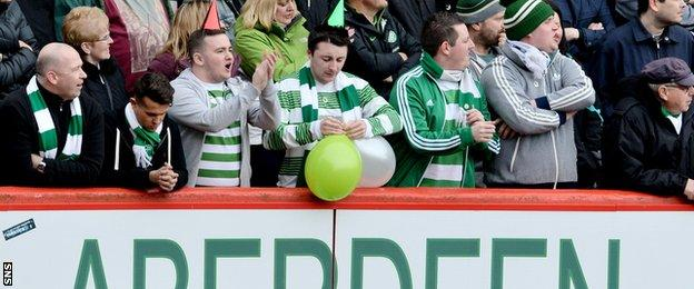 Celtic fans were in the mood to party at Pittodrie