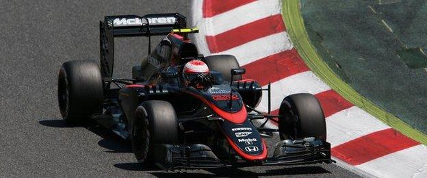 Jenson Button takes a turn during the Spanish GP