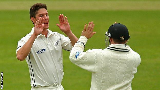 Ben Wheeler of New Zealand celebrates after dismissing Johann Myburg