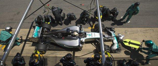Lewis Hamilton pits during the Spanish GP