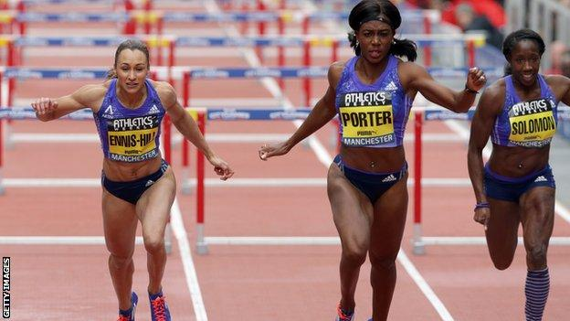 Jessica Ennis-Hill in action in Manchester