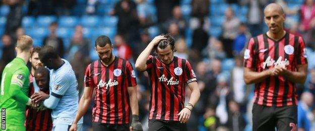 QPR players were left dejected at the final whistle on Sunday