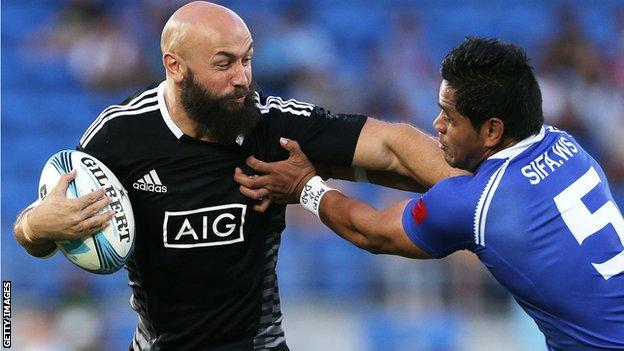 Captain DJ Forbes in action for New Zealand Sevens against Samoa