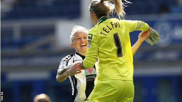 Notts County Ladies captain Laura Bassett celebrates FA Cup semi-final win with goalkeeper Carly Telford