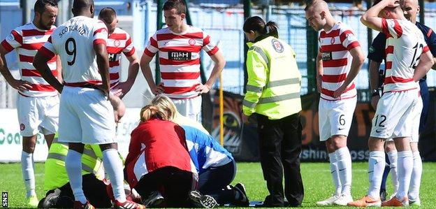 Michael Devlin receives treatment against Partick Thistle