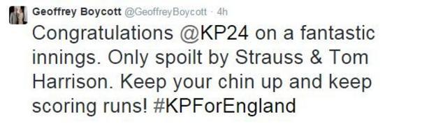 Geoffrey Boycott tweet
