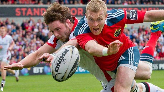 Ulster are hoping for a successful appeal against the red card given to Iain Henderson (left)