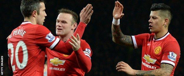 Robin van Persie, Wayne Rooney and Marcos Rojo