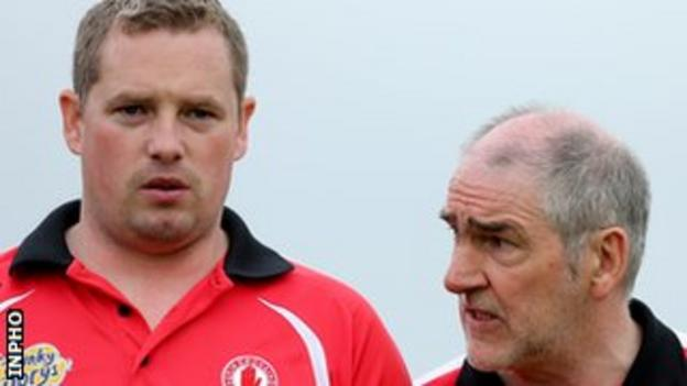 Tyrone selector Gavin Devlin (left) with manager Mickey Harte