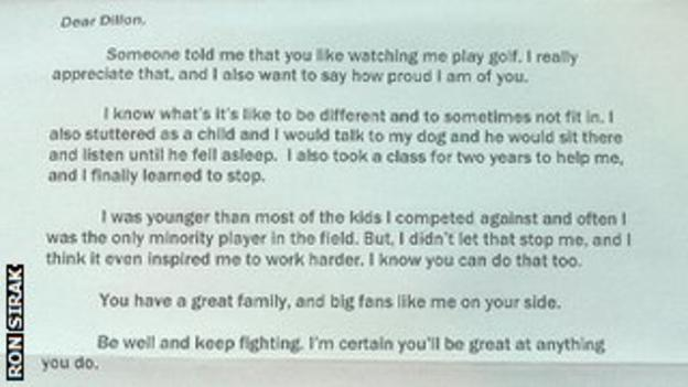 Letter from Tiger Woods
