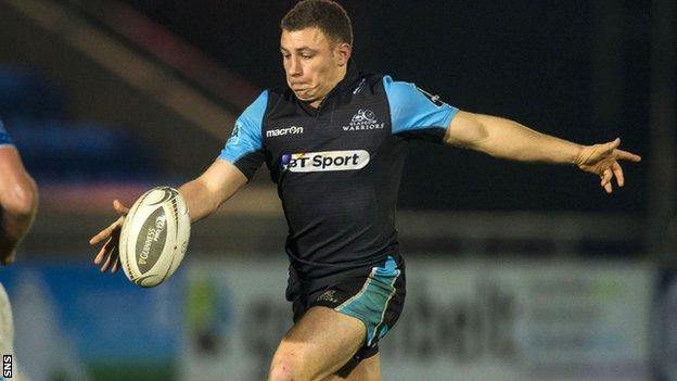 Glasgow Warriors' Duncan Weir clears the ball