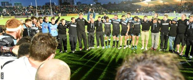 Glasgow Warriors celebrate reaching the 2013/14 Pro12 final