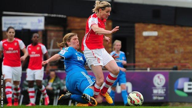 Kelly Smith is tackled by Sunderland's Abby Holmes