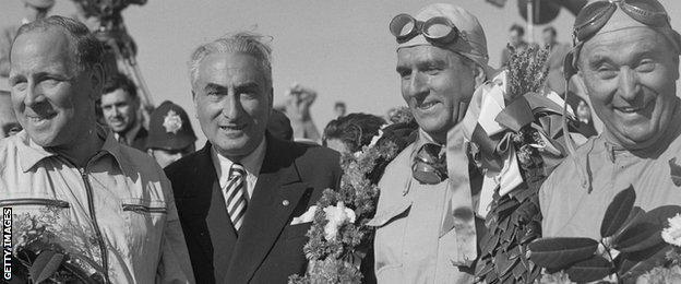 Reg Parnell, Giuseppe Farina and Luigi Fagioli