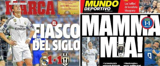 Marca and Mundo Deportivo front page