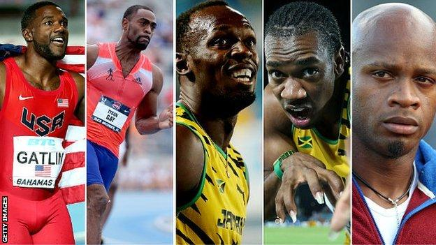 (left to right) Justin Gatlin, Tyson Gay, Usain Bolt, Yohan Blake, Asafa Powell