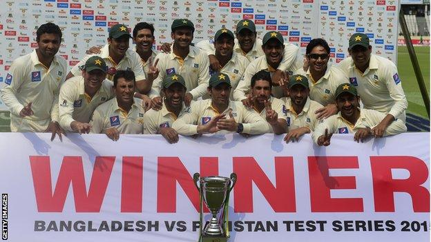 Pakistan with the Test series trophy
