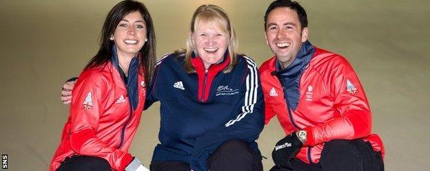 Rhona Howie with GB curling skips Eve Muirhead and David Murdoch