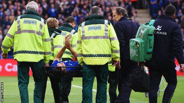 Matty James is taken off on a stretcher during Leicester's win over Southampton on 9 May