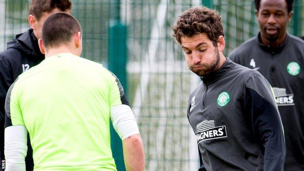 Celtic midfielder Charlie Mulgrew in training of Thursday