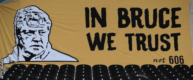 A Hull City banner at last weekend's game versus Burnley in support of Steve Bruce