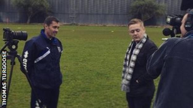 Thomas Turgoose and Grimsby manager Paul Hurst
