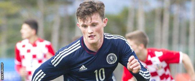 Liam Henderson in action for Scotland's Under-19s