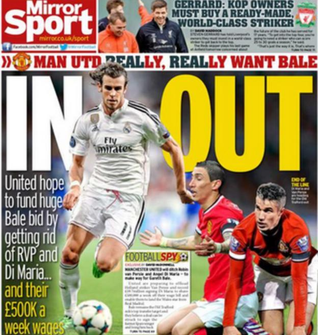Manchester United's pursuit of Gareth Bale dominates the back page of Friday's Daily Mirror