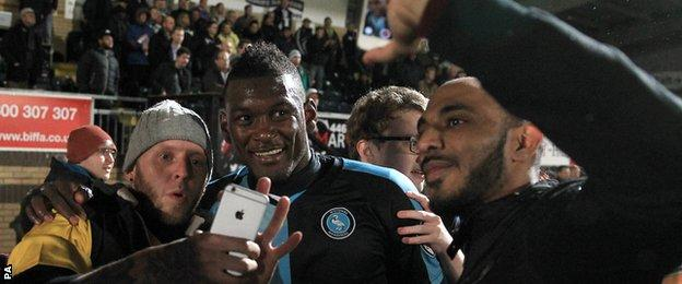 Aaron Pierre with Wycombe fans