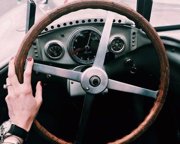 Susie Wolff driving Juan Manuel Fangio's 1950s Mercedes