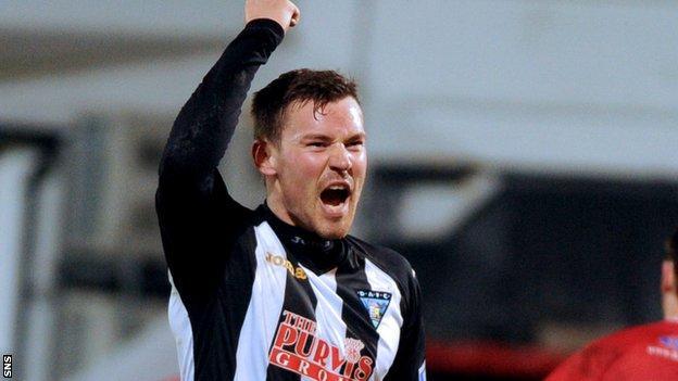 Andrew Barrowman celebrates with Dunfermline