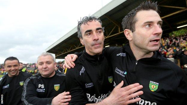 Jim McGuinness and Rory Gallagher embrace after Donegal's victory over Tyrone in 2013