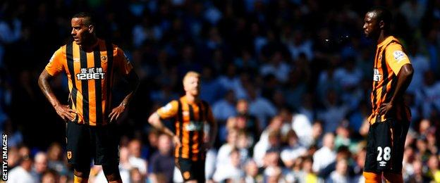 Hull City players look dejected