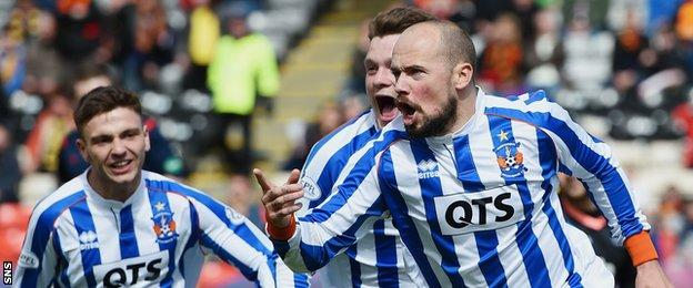 Jamie Hamill celebrates after scoring for Kilmarnock against Partick Thistle