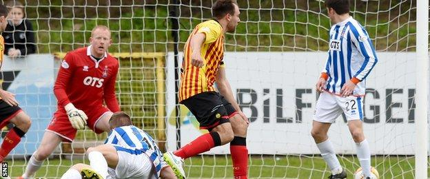 Conrad Balatoni scores for Partick Thistle against Kilmarnock