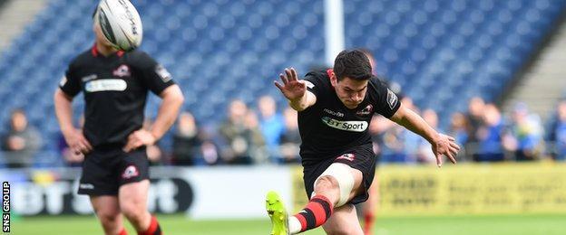 Edinburgh's Sam Hidalgo-Clyne scores his penalty to make it 23-22