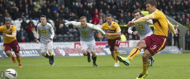 John Sutton scores a penalty for Motherwell against St Mirren