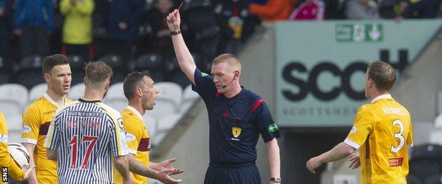 Motherwell striker Scott McDonald is sent off by